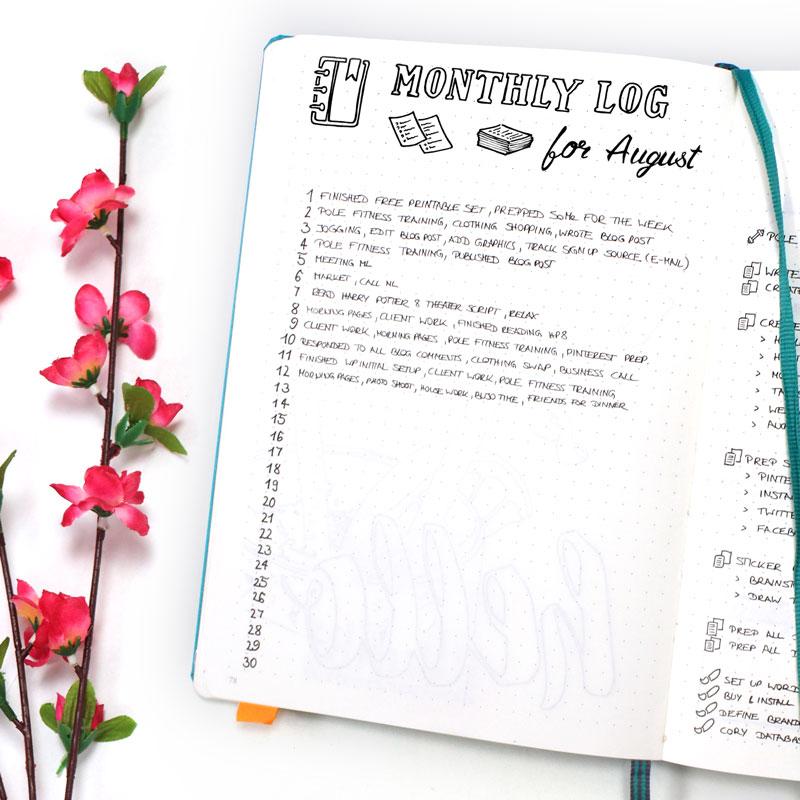 Bullet Journal Monthly Log June - Wundertastisch