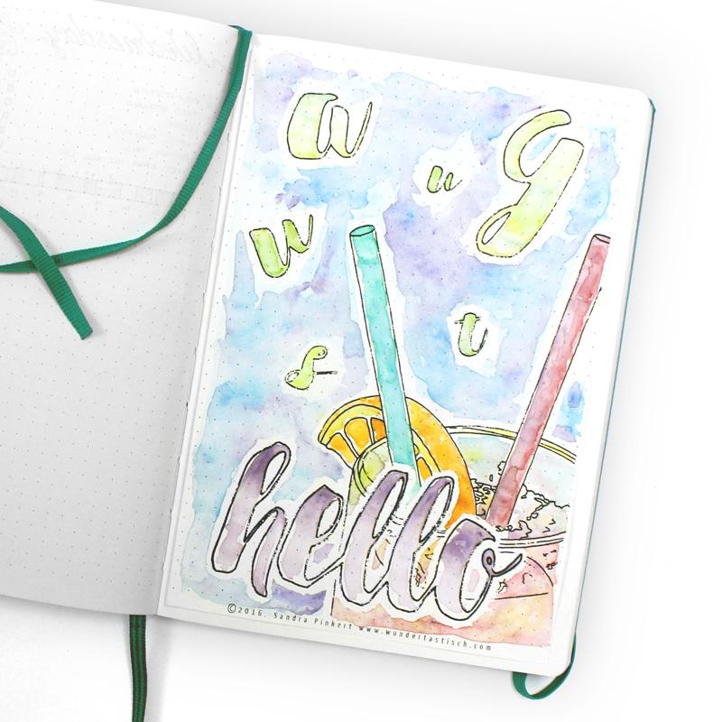 Hello August Water Color Bullet Journal - Wundertastisch