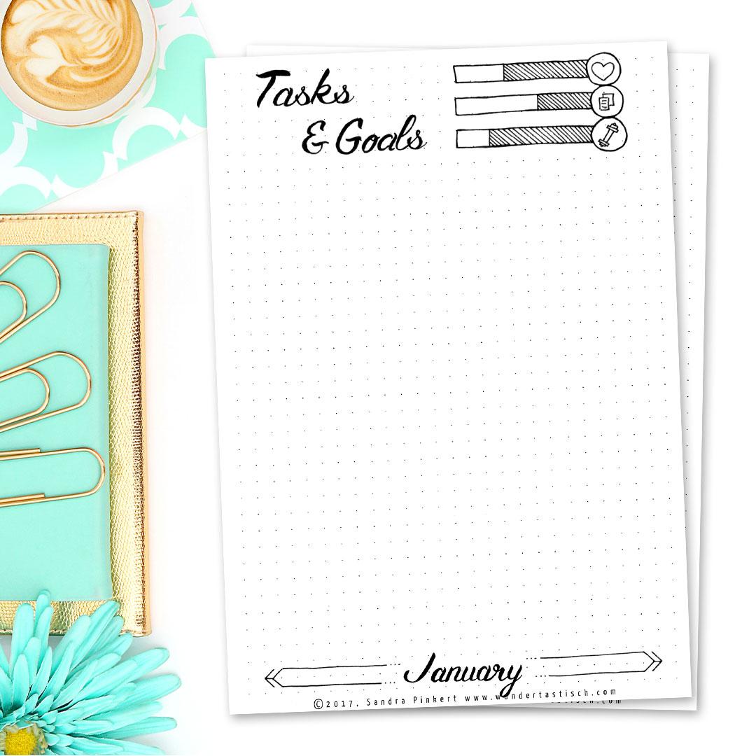 Free Bullet Journal Printable Kit • Tasks & Goals January 2017 - Wundertastisch Design