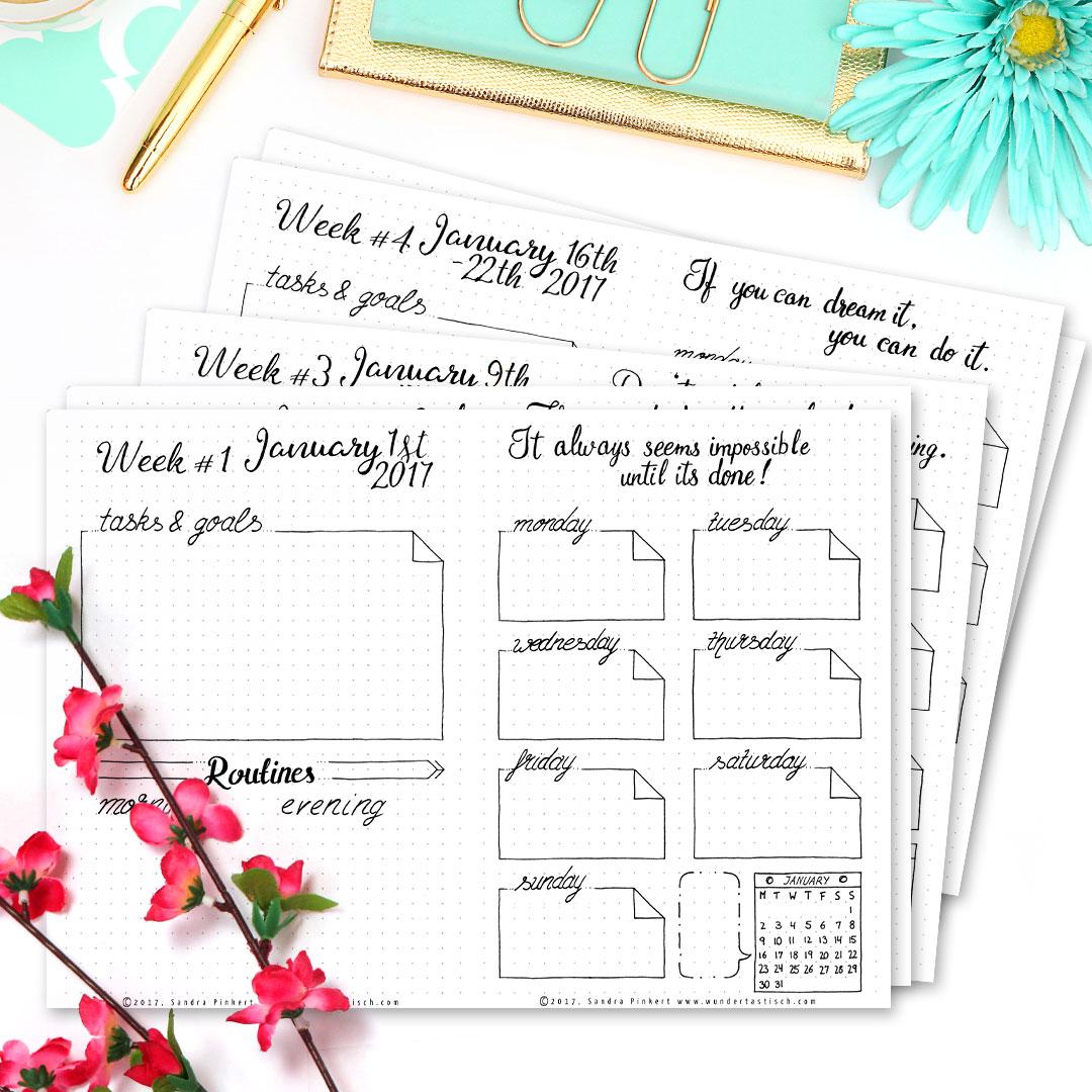 Free Bullet Journal Printable Kit • Weekly Planner January 2017 - Wundertastisch Design